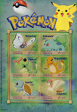 Dominica 2001 MNH Pokemon Series 1 OVPT Bulbasaur Squirtle 6v M/S Stamps