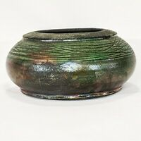 Raku Art Pottery Vase Bowl Iridescent Textured Metallic Artist Signed