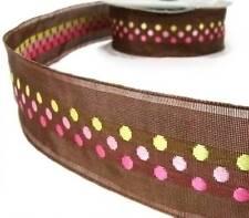 """5 Yds Brown Pink Woven Jacquard Polka Dot Brown Ribbon 1 1/2""""W"""
