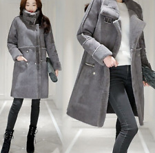 Womens Suede Long Parka Lapel Knee Length Outwear Thicken Winter Coats Jackets P