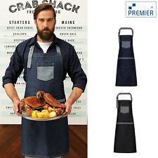 Premier Domain Contrast Denim Bib Apron Pr127 Restaurant Chef Bar Kitchen Wear