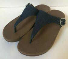 FITFLOP Womens Thong SANDALS Blue Denim THE SKINNY Comfort Size 5 US 3 UK 36 EU