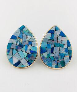 HUGE Vtg Australian Fire Opal Doublet Mosaic Inlay 14k Yellow Gold Stud Earrings