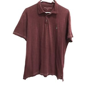 Men's John Varvatos Star USA Short Sleeve Peace Sign Maroon Polo Shirt Sz XL