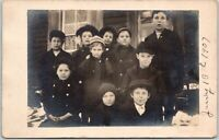 Children School Class January 13 1907 RPPC Real Photo Vintage Postcard Unposted