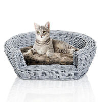 PawHut Elevated Dog Cat Couch Pet Basket Sofa Bed Wicker Willow Rattan w/Cushion