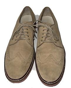 Cole Haan Mens Suede Wingtip Oxford Dress Shoes Sz 9 Tan FLAW