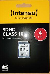 Speicherkarte Intenso 4 GB Class 10 SDHC 4GB, SD Karte, C10 Memory Card Adapter