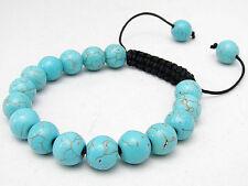 Men's Shambhala bracelet all 10mm Blue Turkey Turquoise Gems Round Beads