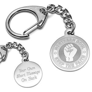 Personalised Engraved Northern Soul Keyring Keep The Faith Fist or A Way Of Life