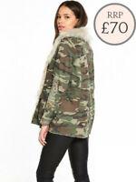 EX River Island Camo Print Jacket Detachable Fake Fur Collar Size 6 - 12 RRP £70