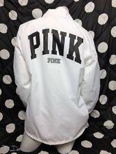 Victoria's Secret PINK Snap Front Lined Coach Jacket White/Black Logo MED *NEW*