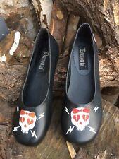 Pleaser Demonia Daisy Skull Design Slip On Shoe Goth Punk Cute Lolita Size 4.5