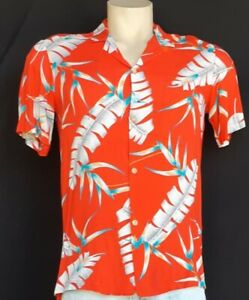 Vintage Hawaiian Shirt, Rayon, Red Palm print, USA by 'Made in Paradise' size...