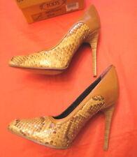 TODS women's heels 9 cm Shoes rare collection snake skin 37 eu dark cream color