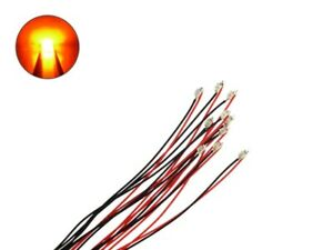 SMD LED 0805 Orange with Cable Micro Braid Wire Ready Soldered 10 Piece S987