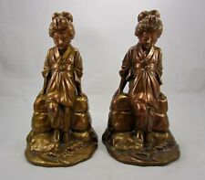 "Antique JB Jennings Brothers 8 1/2"" Bronze Japanese Geisha Girl Statue Bookends"