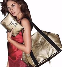 NEW 1 VICTORIA'S SECRET GOLD COMPACT WEEKENDER DUFFLE BAG SHOPPER TOTE LARGE