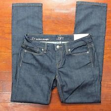 LOFT Ann Taylor Women's Modern Straight Denim Blue Jeans Size 2 / 26 Petite NWT