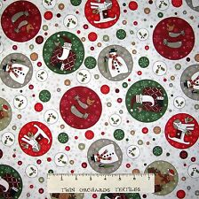 Christmas Fabric - Festive Fun Dog Cat Reindeer Medallion Beige  - RJR YARD