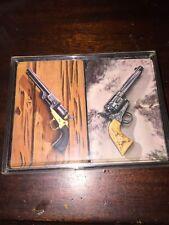 Vtg SEARS Playing Cards 2 Pack Decks Guns Revolver Western Cowboy