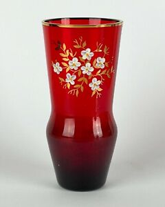 Mid Century RUBY GLASS Hand Painted White & Gilt Flowers Small VASE - 15cm High