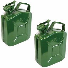 2x 5L Green Metal Jerry Can Fuel Petrol Diesel Oil Containers Canister Army 4x4