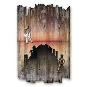 Steg Schlüsselbrett Hakenleiste Landhaus Shabby chic aus Holz 30x20cm