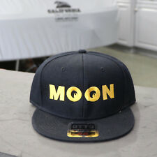 Men s Mooneyes MOON Logo Flat Bill Snapback Wool Blend Baseball Hat Black  CM115 283bc8425d73