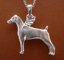 Sterling Silver Doberman Pincher Angel Pendant With Un-Cropped Ears