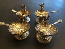 French Sterling Silver 4  Salts Cellars  & spoons 4 pc CHERUBS