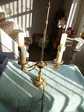 Beautiful Brass Table Desk Twin Light Lamp Candelabra Rope Sash Braided Effect