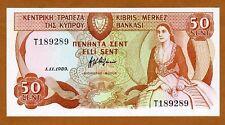 CYPRUS, 50 cents, 1989, P-52, T-Prefix, Gem UNC