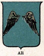 Stemma del Comune di Alì (con Alì Terme). CROMOLITOGRAFIA. Messina.Sicilia.1901
