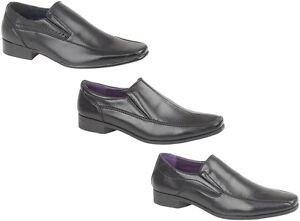 Mens Formal Office Shoes New Smart Casual Wedding Black Slip On Footwear
