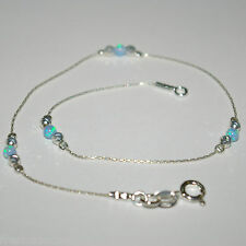 Light Blue OPAL Beads Sterling Silver 925 Chain and Beads Handcrafted ANKLET