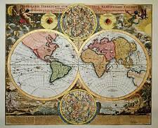 Mappamondo di Homann, 1690 - INCISO E DIPINTO A MANO CON ACQUERELLI cm 60x80