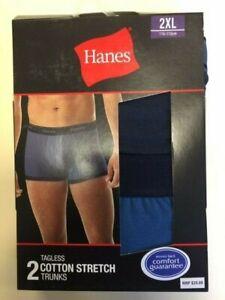 2x Hanes Tagless Cotton Stretch Trunks 2XL 110-115cm