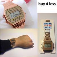 NEW CASIO Retro Classic Unisex Digital Steel Bracelet Watch-A168WA1YES Rose Gold