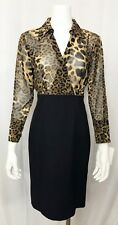 Donna Degnan Dress Animal Print Long Sleeve Empire Waist Black Knit size 6