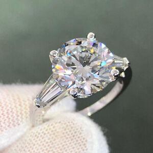 3.00 Ct Round Cut Moissanite Three-Stone Engagement Ring 14K White Gold Plated