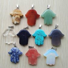 Fashion assorted Natural stone hand palm charms pendants 10pcs/lot Wholesale
