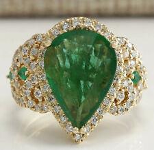 8.00 Carat Natural Emerald 14K Yellow Gold Diamond Ring
