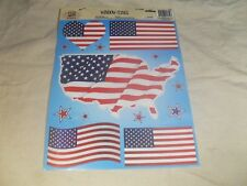 Set of 5 ~ America Flag Clings Decals ~ Outside of Window