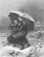PRETTY GIRLS SISTERS WALK IN CEMETERY in SNOW STORM ~ 1868 Art Print Engraving