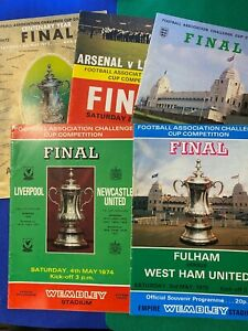 5 X 70S FA CUP FINAL  PROGRAMMES - 1971-1975 - ALL SHOWN & EXCELLENT