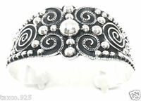 TAXCO MEXICAN 950 SILVER BEADED BEAD DECO SCROLL CUFF BRACELET MEXICO