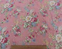 "Pretty Vintage Floral c1938-1940s Cotton Fabric~Dusty Pink~L-50"" X W-33"""