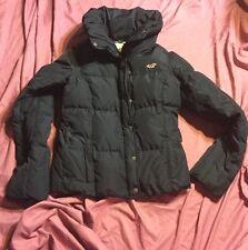 $300 Hollister Fur Down Filled Blue Puffer Parka Jacket Coat Women Quilted Large