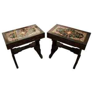 Modern Vintage Pair of Inlaid Asian Carved Wood & Glass Side Tables 1980s